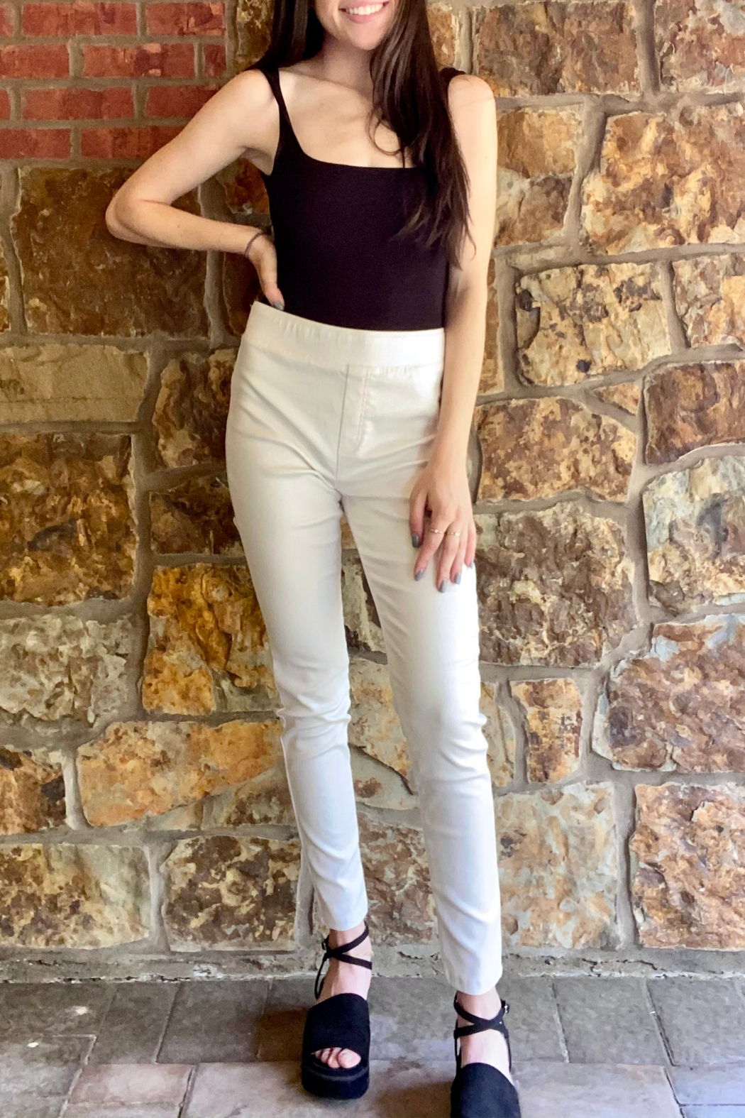 Bianco Jeans Glossy Stretch Pull On Pant - Main Image