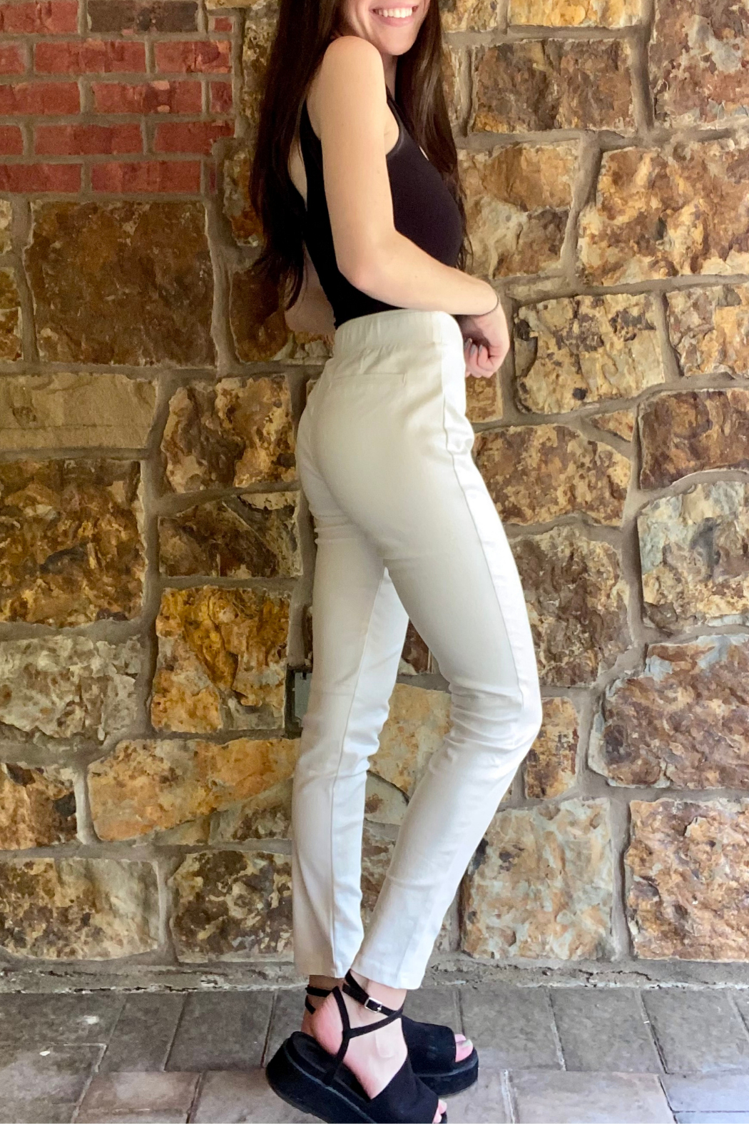 Bianco Jeans Glossy Stretch Pull On Pant - Front Full Image