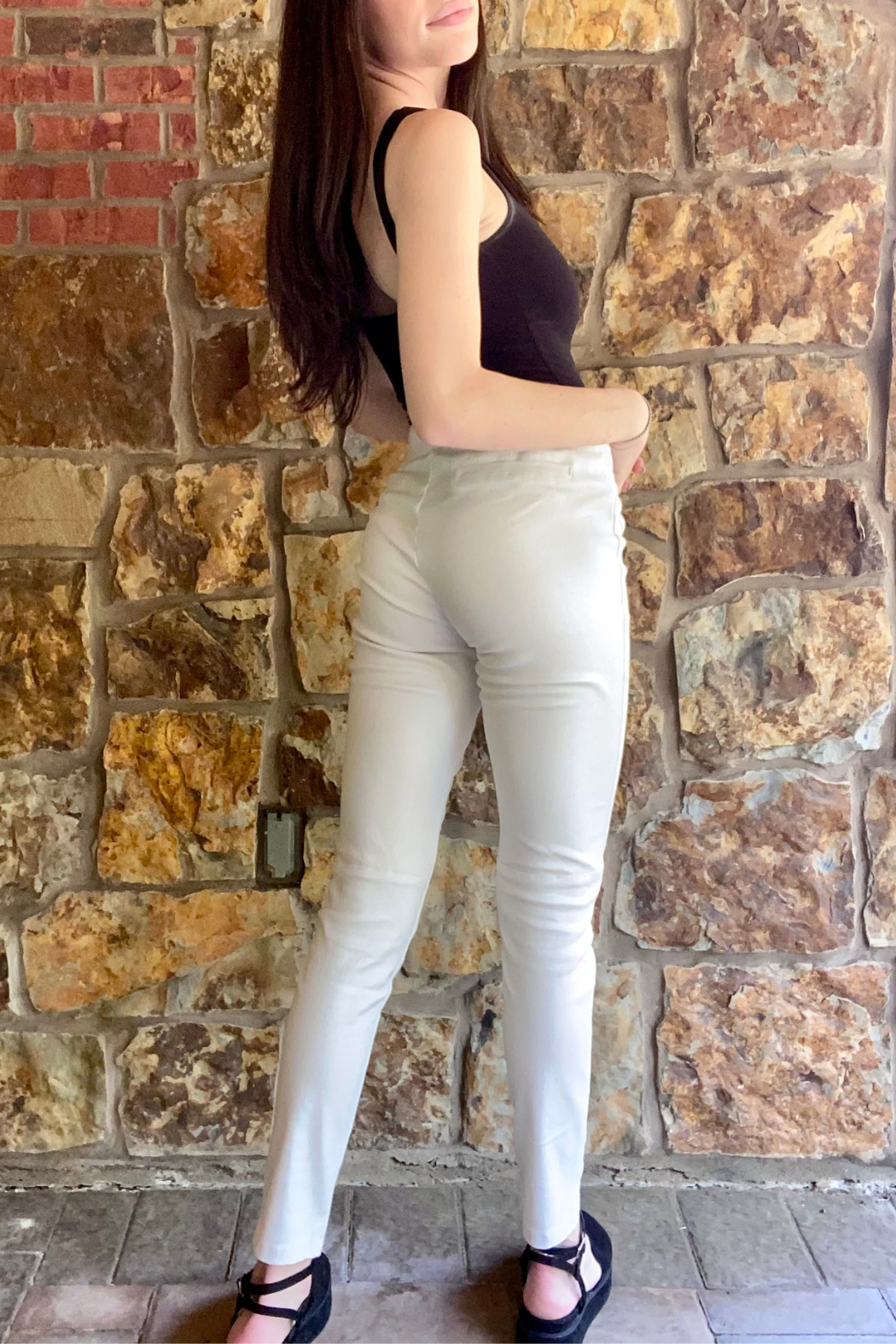 Bianco Jeans Glossy Stretch Pull On Pant - Side Cropped Image
