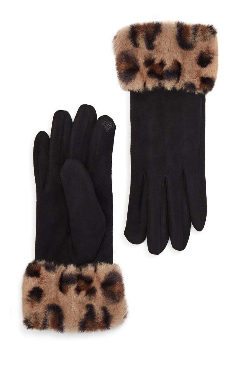 Two's Company Glove w/ Faux Fur Cuff - Front Cropped Image