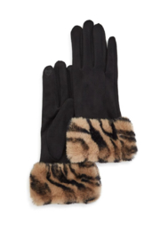 Two's Company Glove w/ Faux Fur Cuff - Front cropped