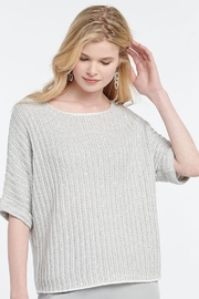 Nic + Zoe Glow For It Sweater, grey and beige stripe with sequins - Product Mini Image