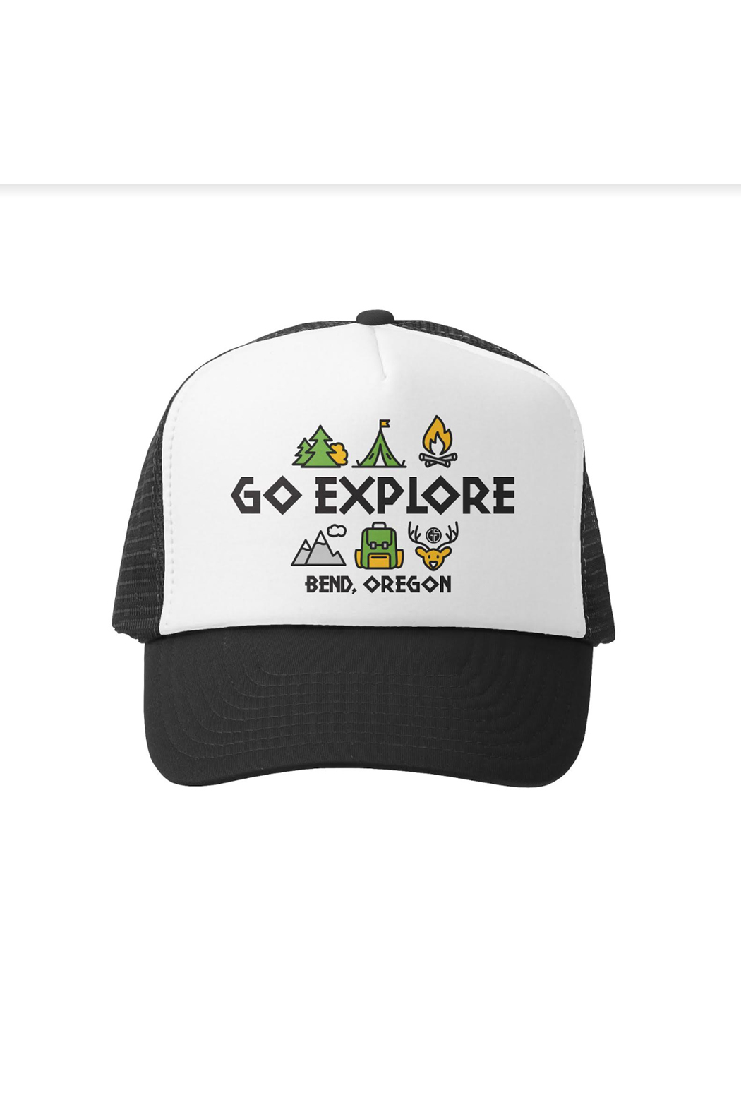 Grom Squad Go Explore Bend Oregon Trucker Hat - Front Full Image