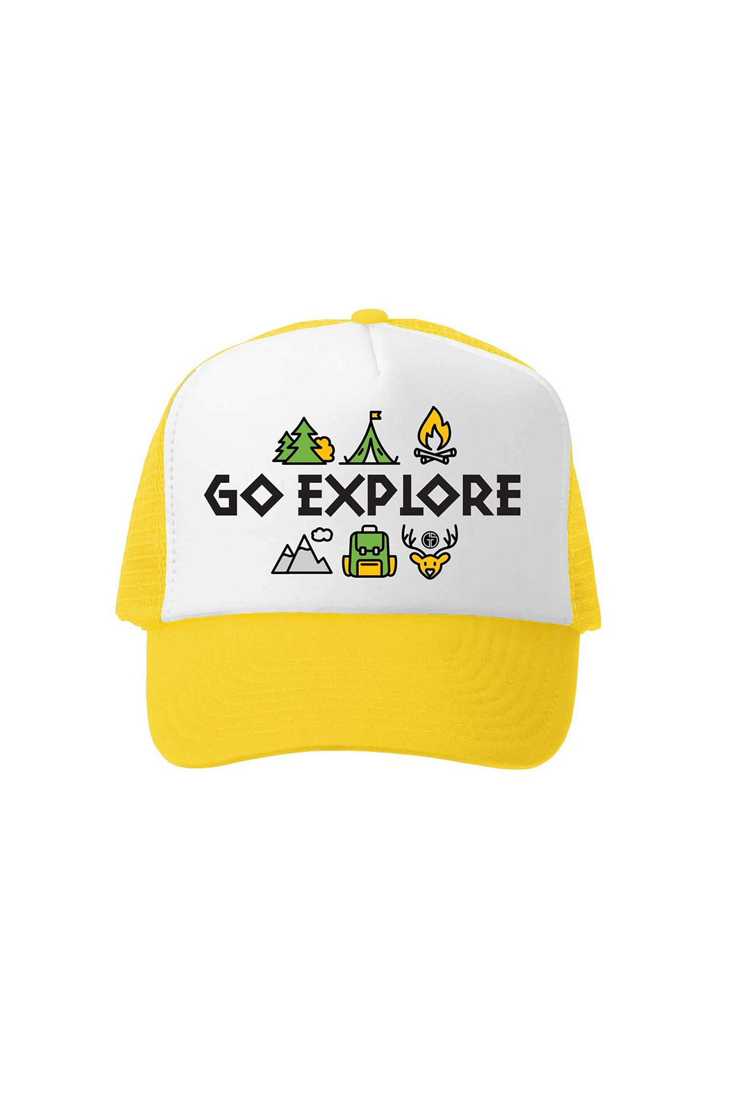 Grom Squad Go Explore Bend Oregon Trucker Hat - Front Cropped Image
