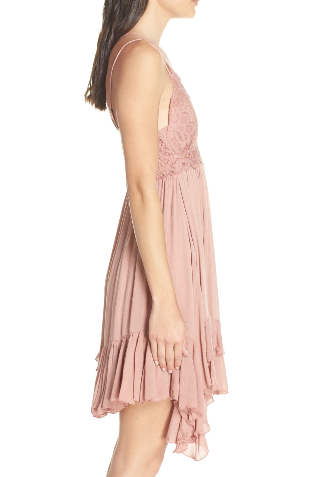 Free People Go for boho glam in this creation from , a flowing slip dress with a crochet at the bodice and an asymmetrical ruffled hem. - Back Cropped Image