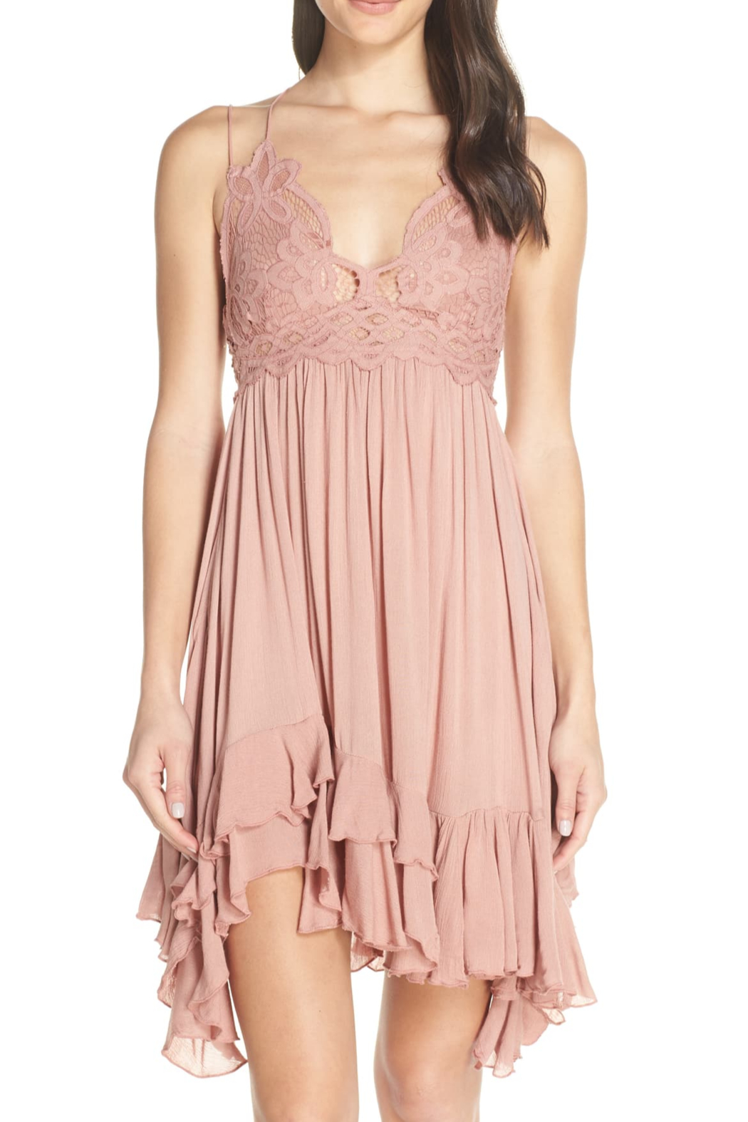 Free People Go for boho glam in this creation from , a flowing slip dress with a crochet at the bodice and an asymmetrical ruffled hem. - Side Cropped Image
