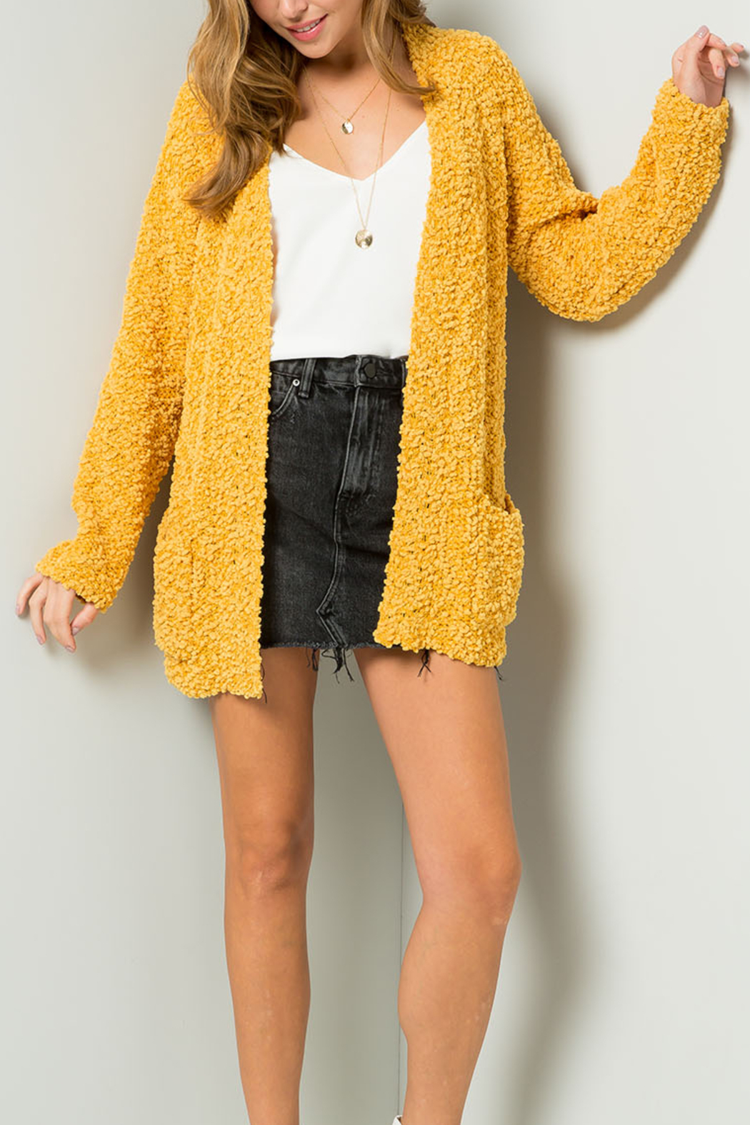 Umgee USA Go For Gold cardigan - Front Cropped Image