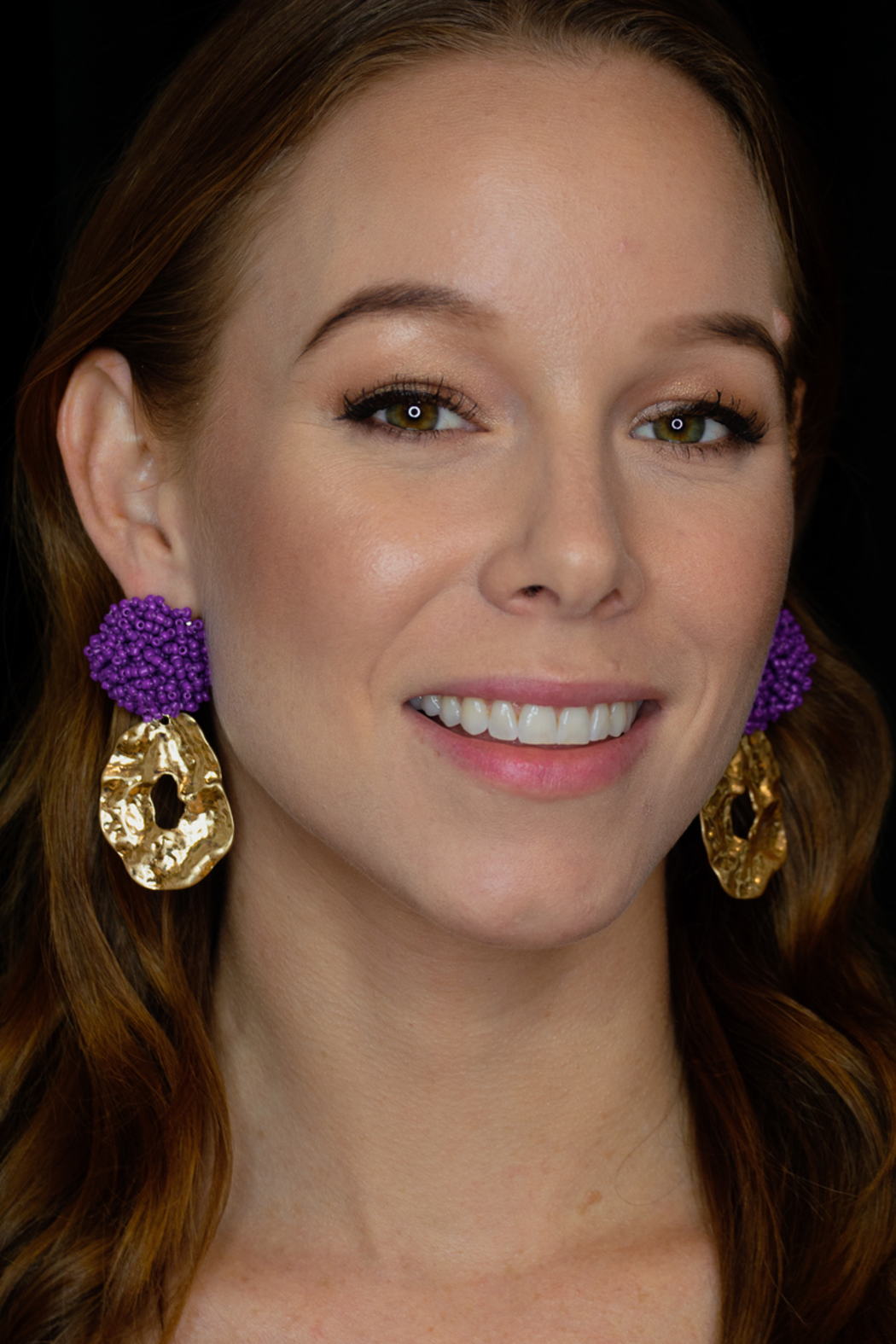 SHIVER + DUKE Go-Go Beaded Drop Earrings - Front Cropped Image