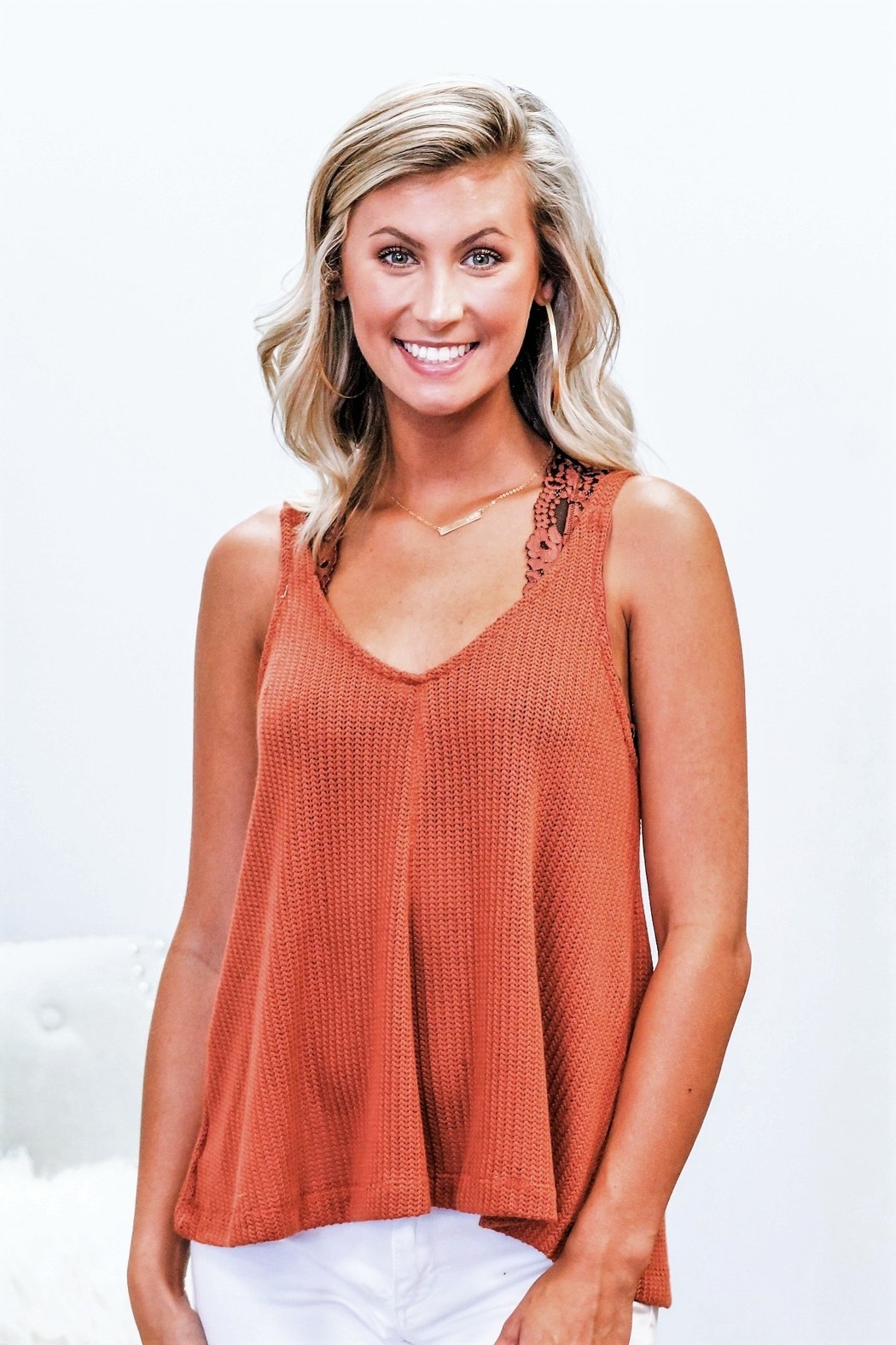 Blu Pepper Go With The Flow Knit Tank - Front Full Image