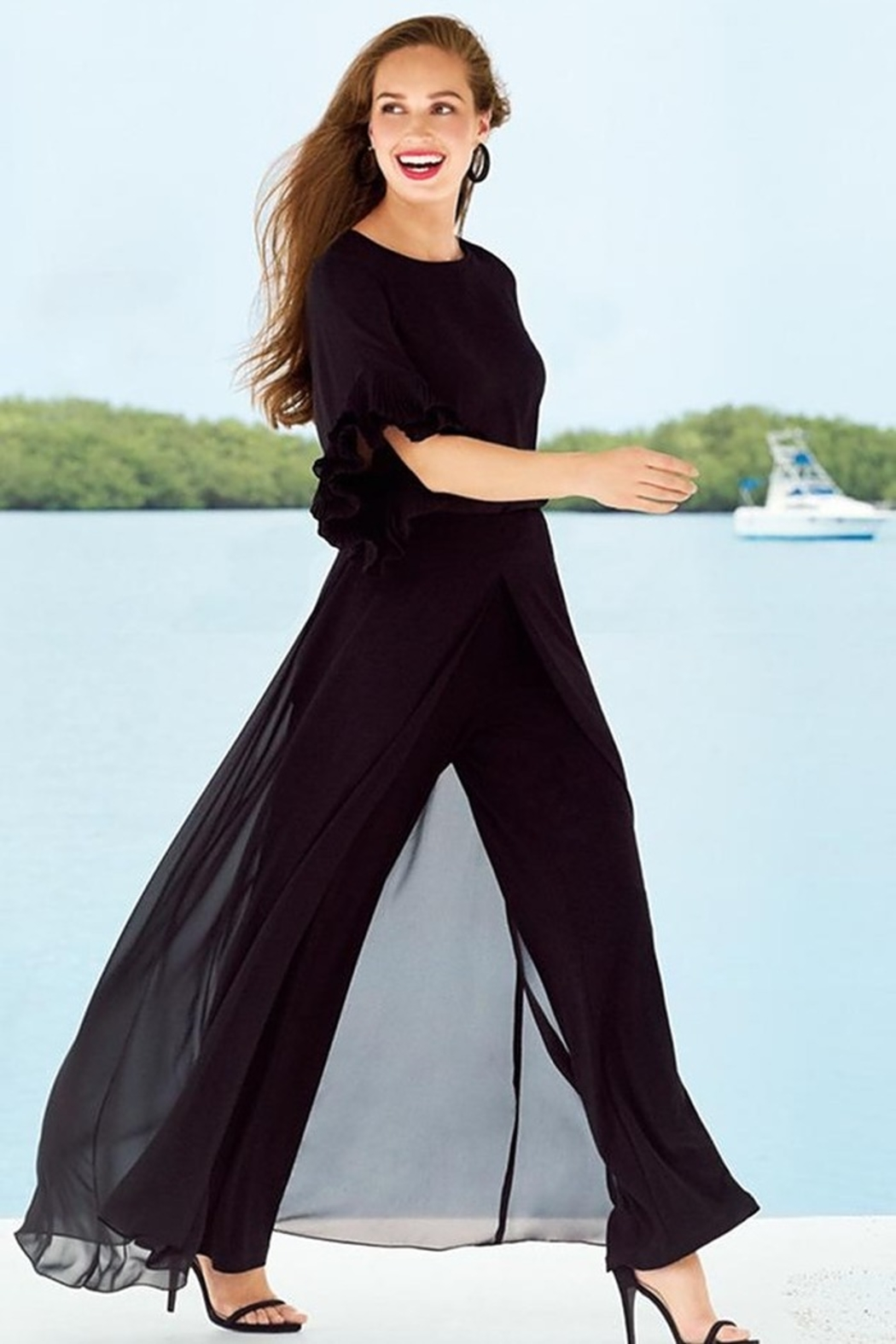 Joseph Ribkoff  Go with the Flow Wide Leg Pants - Front Cropped Image