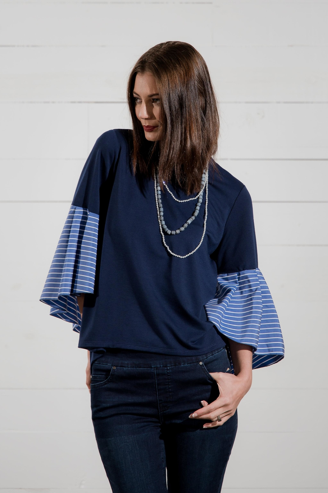 Go Fish Clothing Bell Sleeve Blouse - Back Cropped Image