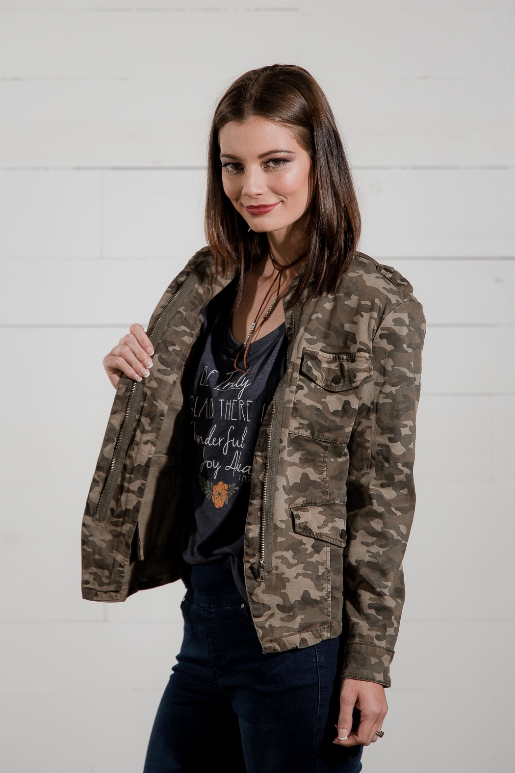 Go Fish Clothing Camo Zip Jacket - Back Cropped Image