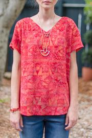 Go Fish Clothing Red Batik Blouse - Product Mini Image