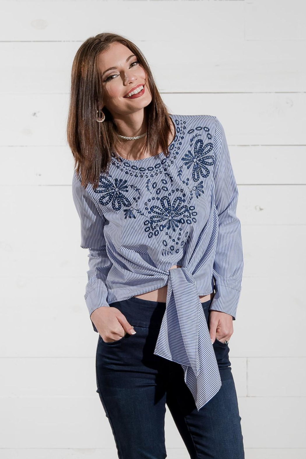 Go Fish Clothing Stiped Tie Top - Front Full Image
