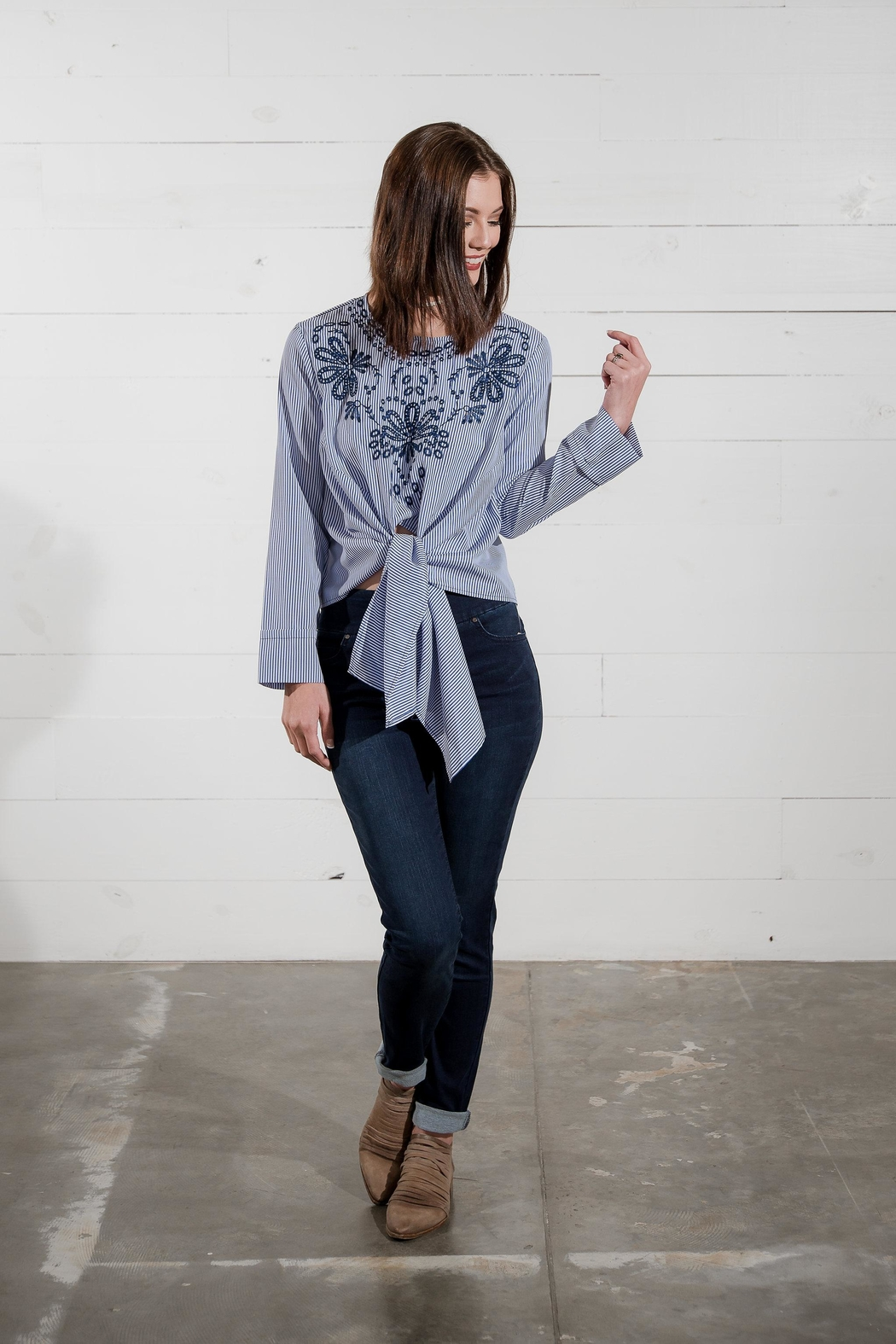 Go Fish Clothing Stiped Tie Top - Side Cropped Image