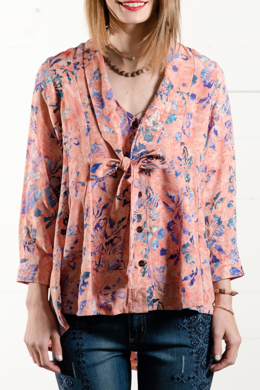 Go Fish Clothing Tie Front Blouse - Main Image