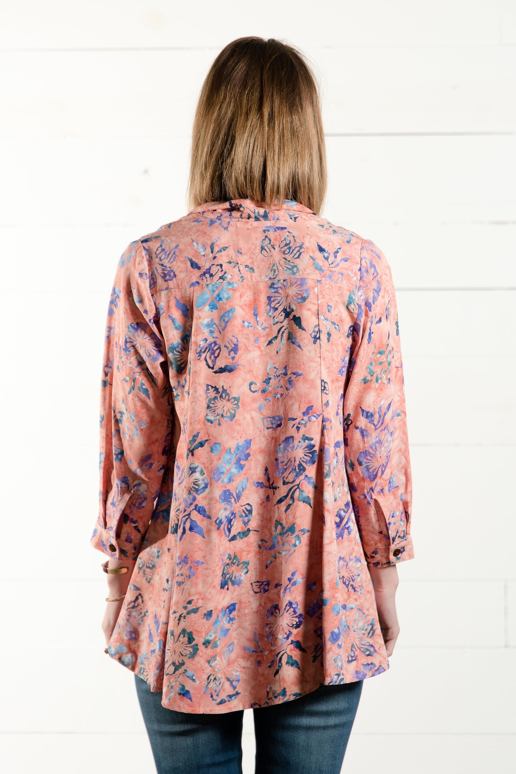 Go Fish Clothing Tie Front Blouse - Back Cropped Image