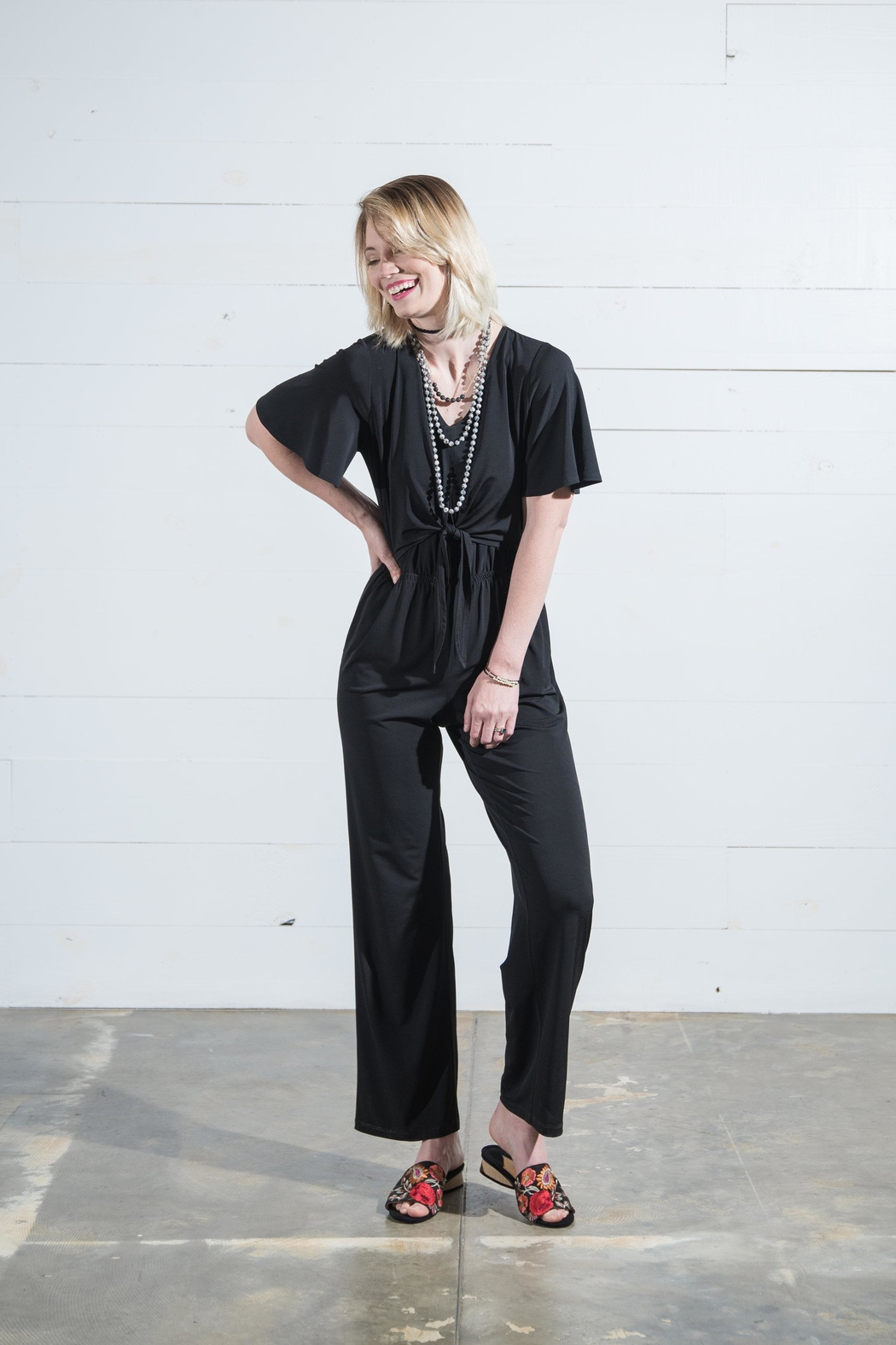 Go Fish Clothing Tie Front Jumpsuit - Front Full Image