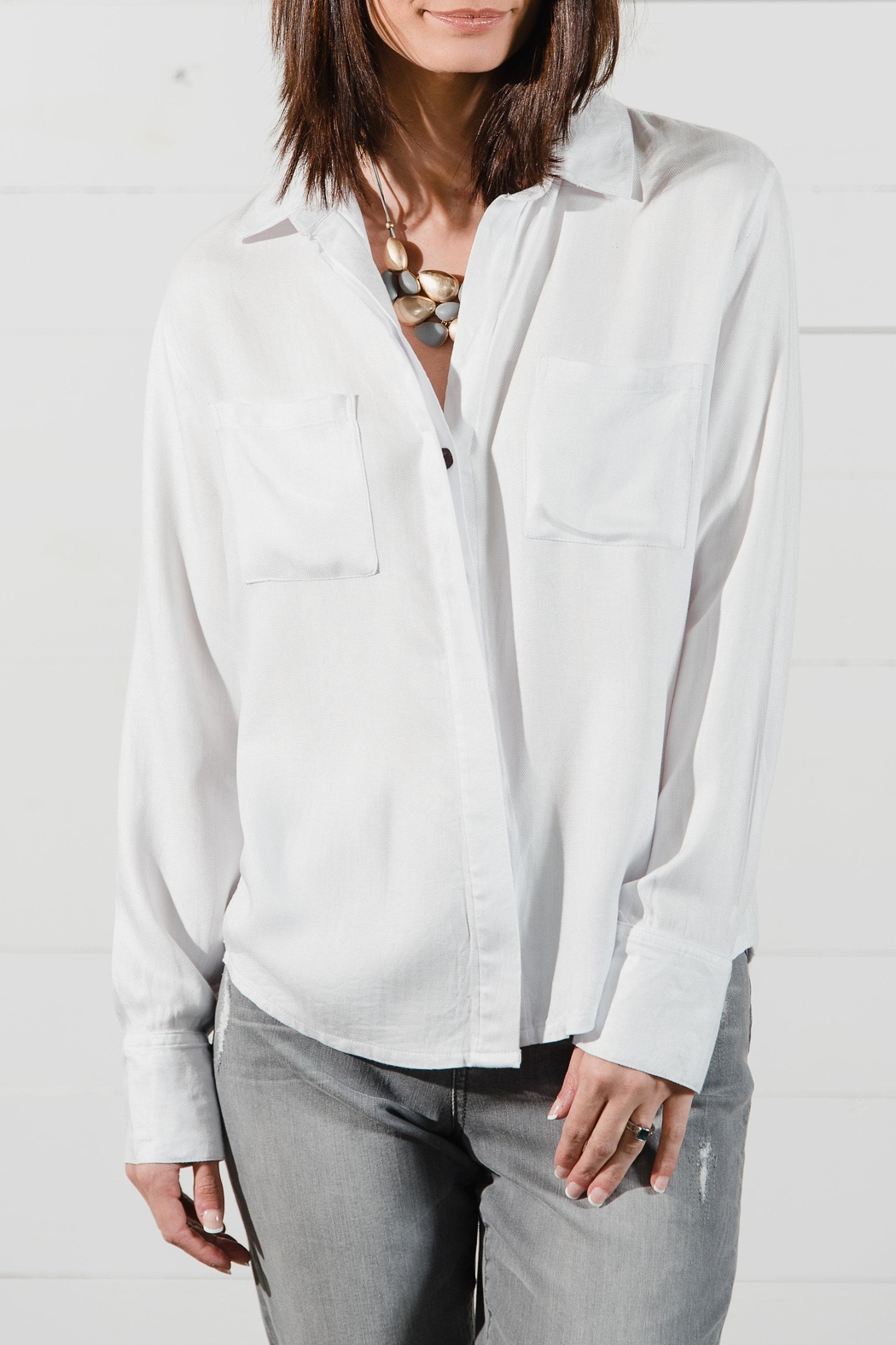 Go Fish Clothing White Button Front Blouse - Main Image