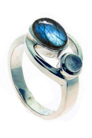 Crystal Earth Goddess Ring with Labradorite and Moonstone - Product Mini Image