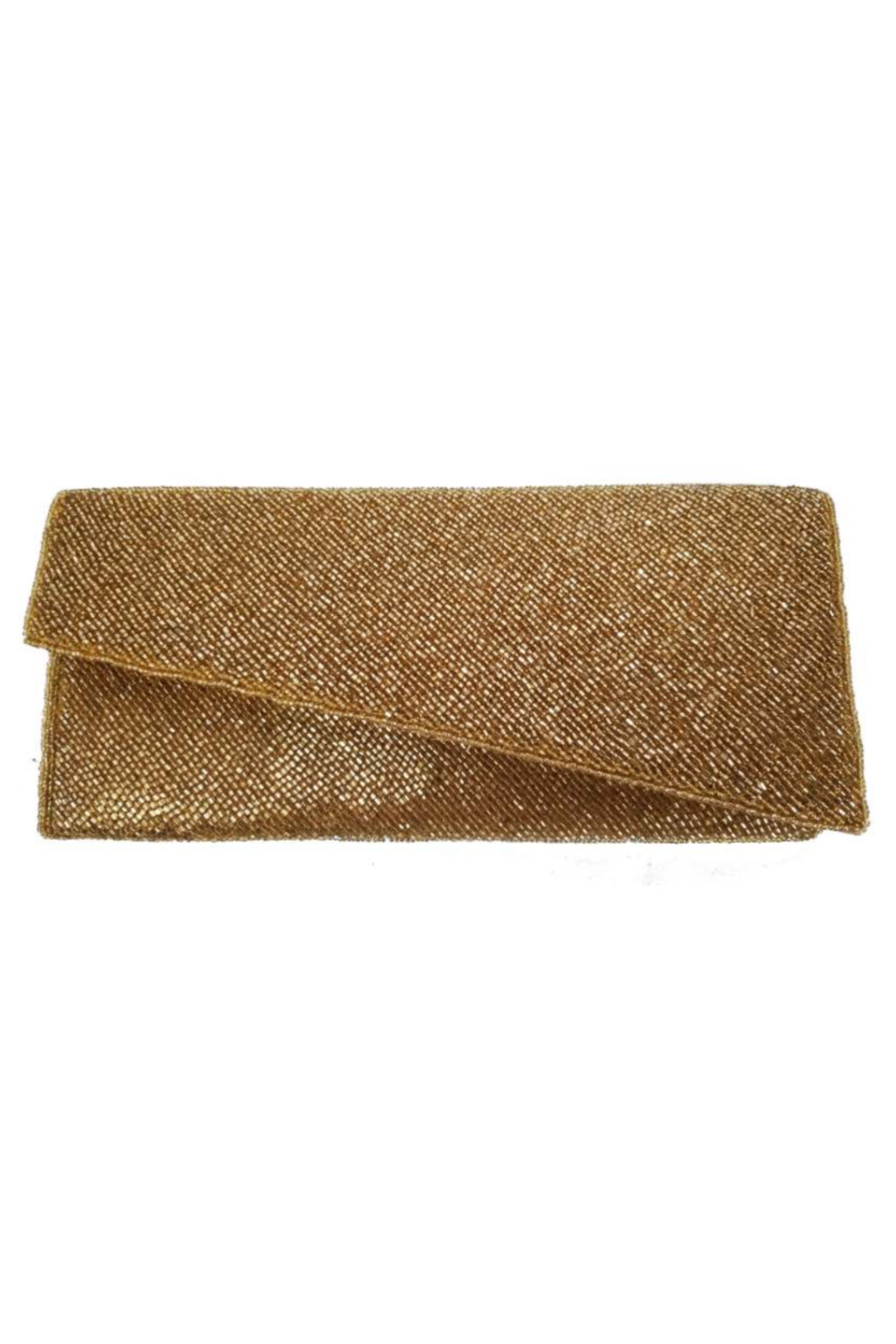 Ricki Designs Gold All Beaded Assymetrical Clutch - Main Image
