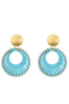 Shoptiques Product: Gold and Light Blue Earrings