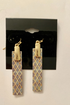tesoro  Gold and Navy Multi Wooden Dangle Earrings - Alternate List Image