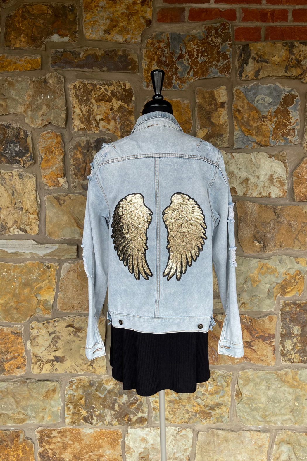 Soulstice Gold Angel Wings Denim Jacket - Front Cropped Image