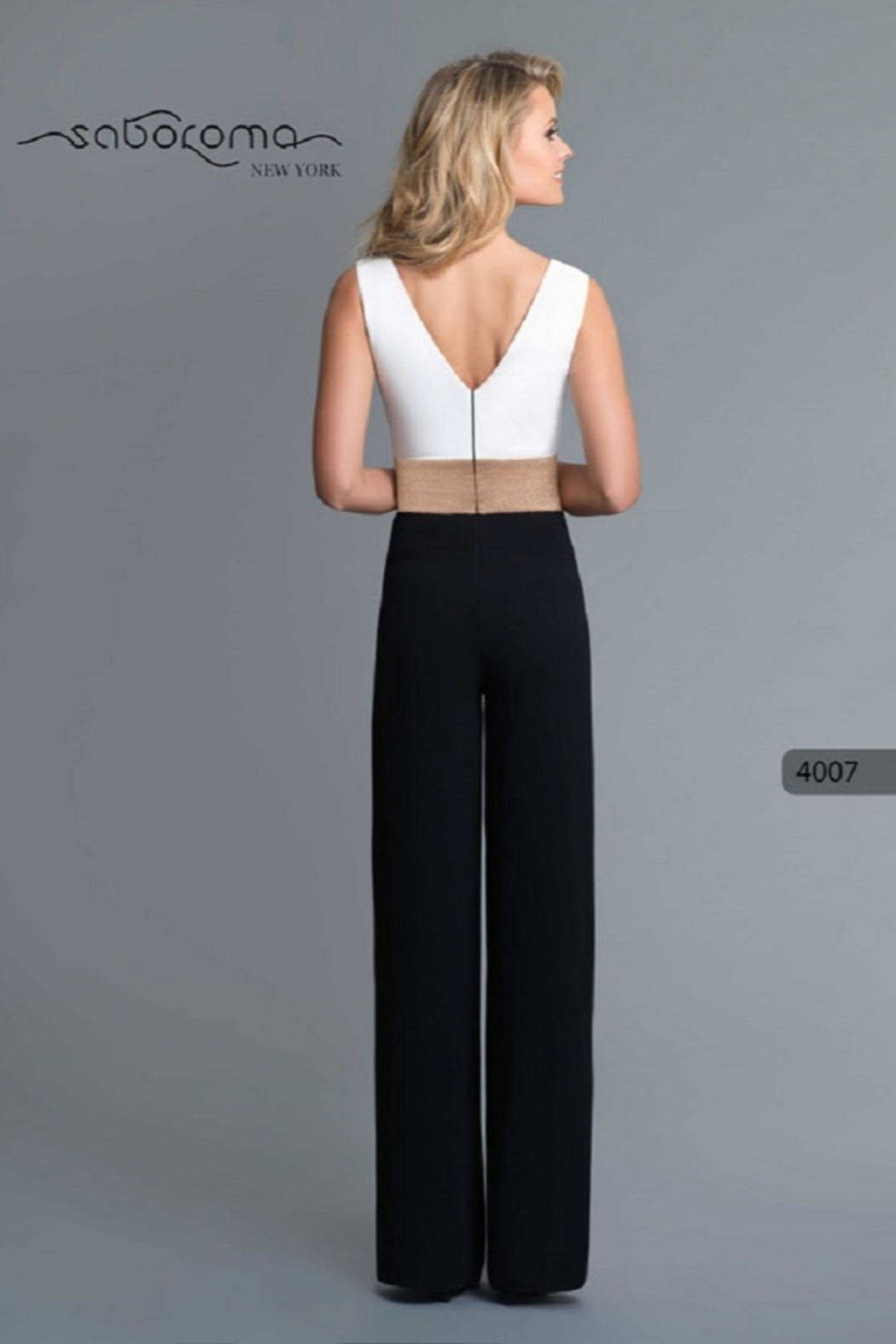 Saboroma Gold Banded Jumpsuit - Front Full Image