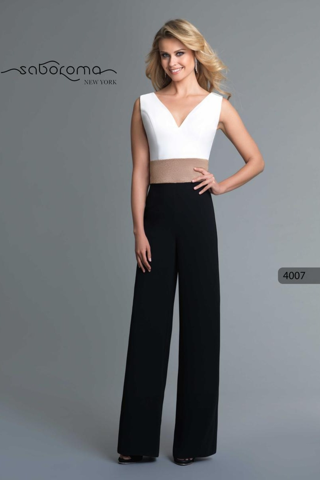 Saboroma Gold Banded Jumpsuit - Front Cropped Image