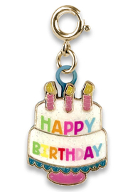 High Intencity Gold Birthday Cake Charm - Front cropped