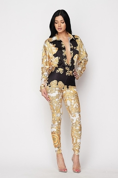 Tiny House of Fashion Gold & Black Printed Bodysuit Pants Set - Product List Image