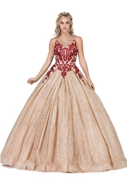 DANCING QUEEN Gold & Burgundy Glitter Ball Gown - Product Mini Image