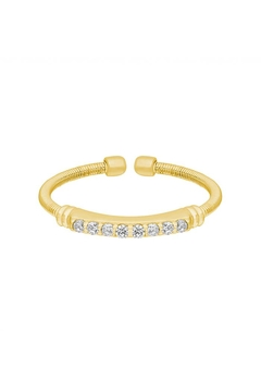 Lets Accessorize Gold Cable-Cuff Stone-Ring - Alternate List Image