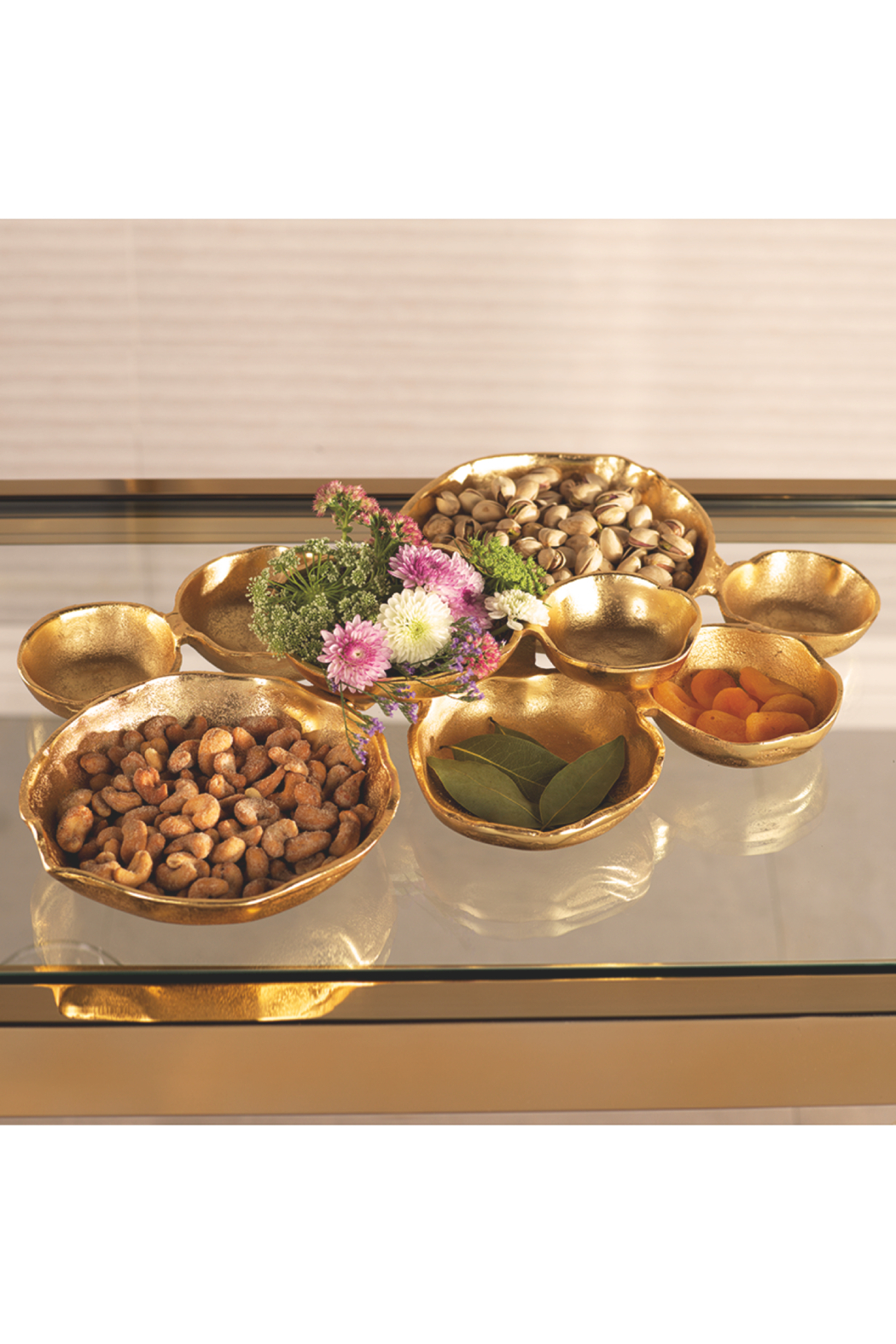 Zodax Gold Cluster Serving Bowls - Side Cropped Image