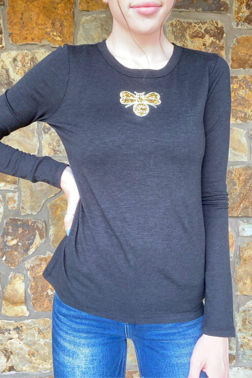 LuLuLisa Gold Crystal Bee L/S Brushed Tee - Main Image