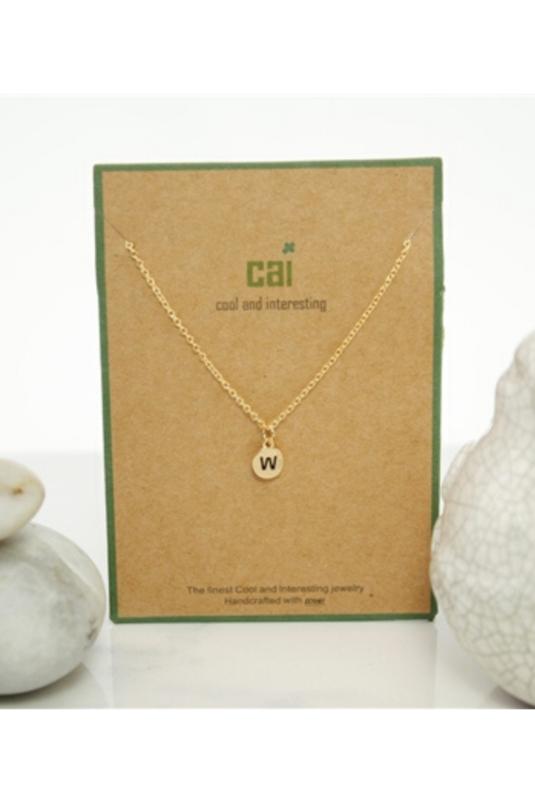 Cool and Interesting Gold Dainty Disc Initial Necklace - Front Full Image