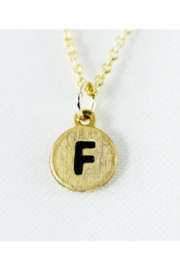Cool and Interesting Gold Dainty Disc Initial Necklace - Front cropped