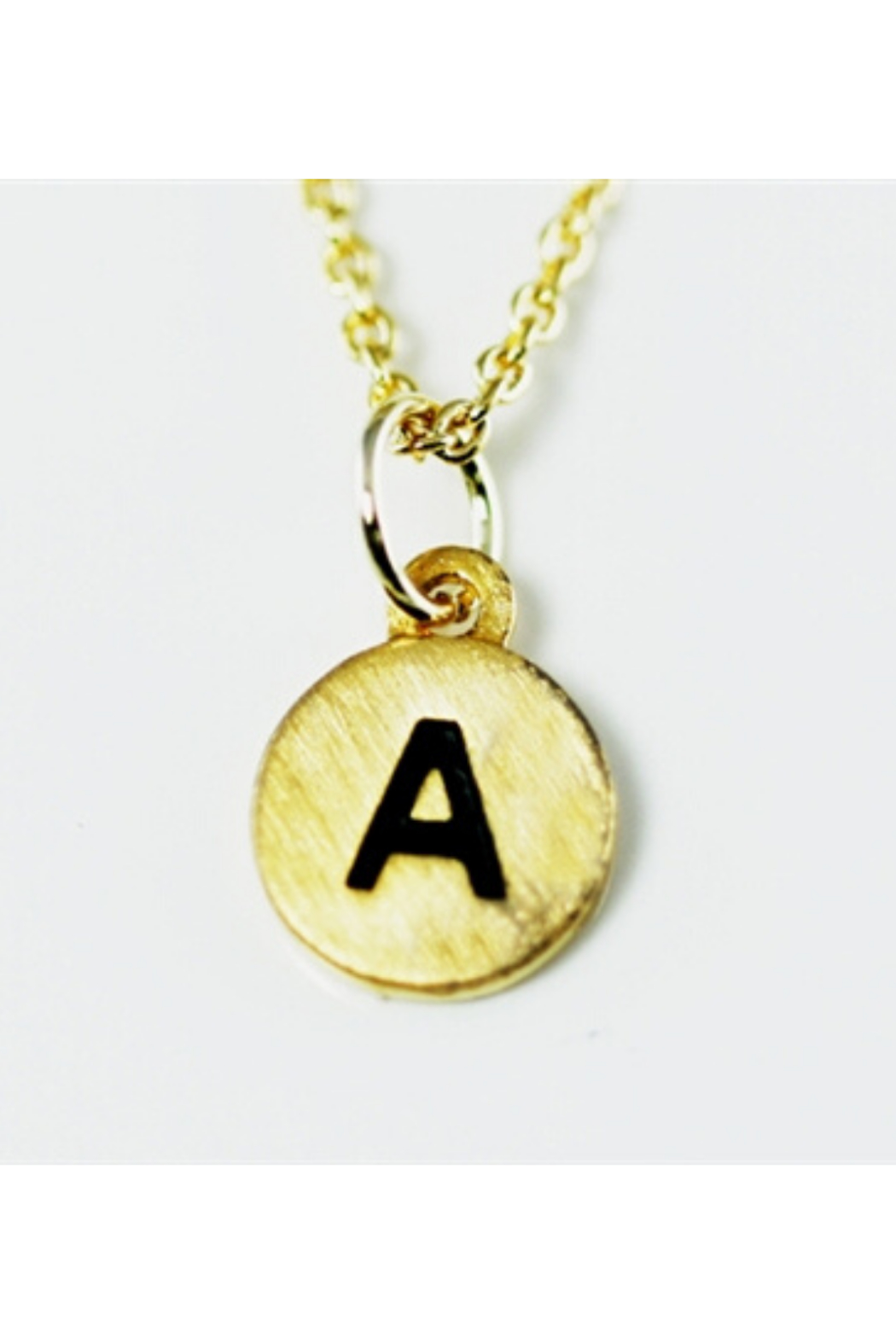 Cool and Interesting Gold Dainty Disc Initial Necklace - Main Image