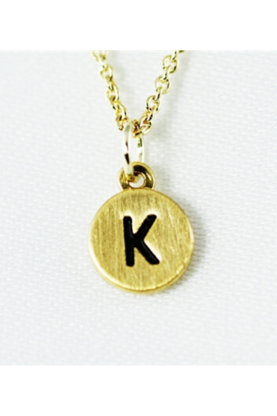 Cool and Interesting Gold Dainty Disc Initial Necklace - Front Cropped Image