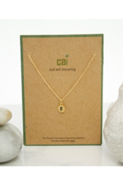 Cool and Interesting Gold Dainty Disc Initial Necklace - Front full body