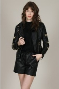 Molly Bracken Gold Detail Leather Jacket - Product List Image