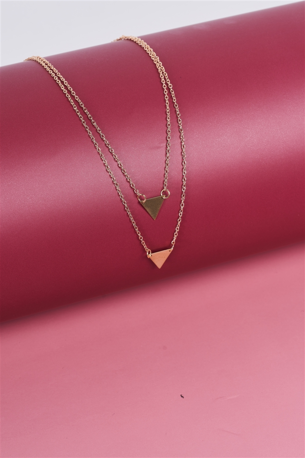 The Emerald Fox Boutique Gold Double Length Chain Triangle Accents Necklace - Main Image