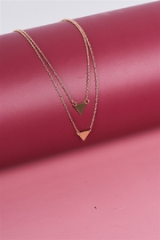 The Emerald Fox Boutique Gold Double Length Chain Triangle Accents Necklace - Product Mini Image