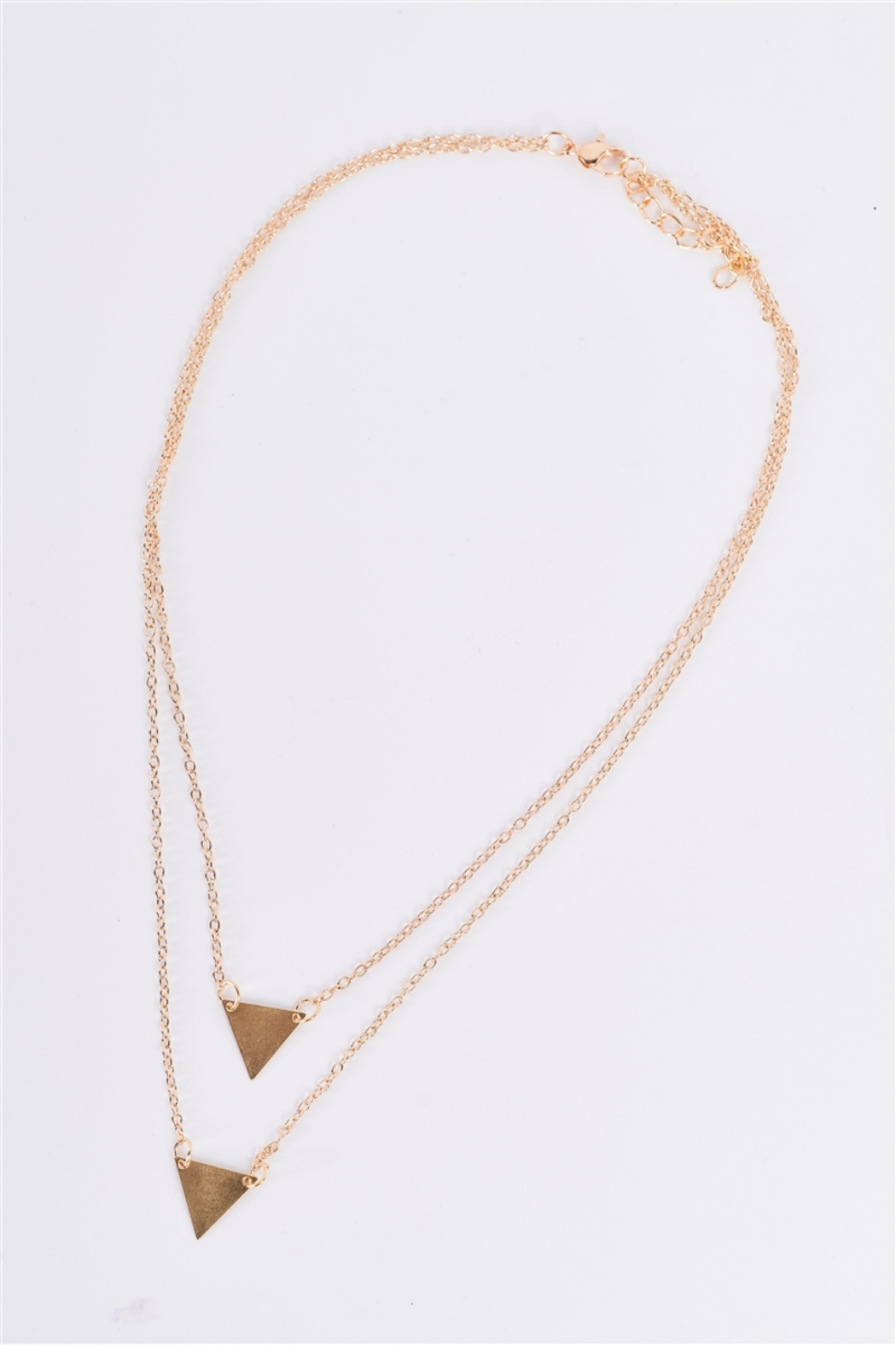 The Emerald Fox Boutique Gold Double Length Chain Triangle Accents Necklace - Front Full Image