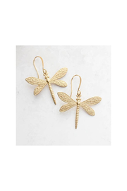 The Birds Nest Gold Dragonfly Earrings - Front cropped