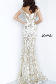 Jovani Gold Embellished Gown - Front full body