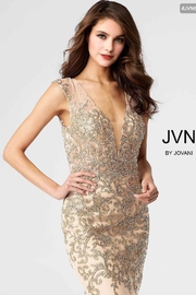 Jovani Gold Embroidered Dress - Product Mini Image