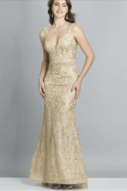 DAVE & JOHNNY Gold Embroidered Dress - Product Mini Image