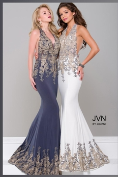 Jovani PROM Gold Embroidered Gown - Product List Image